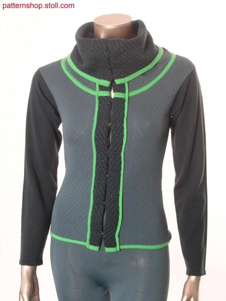 Cardigan with  2-colour tubular fabric / Strickjacke mit  2-farbigem Schlauchgestrick
