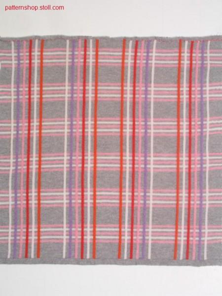 Tartan-intarsia pattern with 24 intarsia yarn carriers / Tartan-Intarsiamuster mit 24 Intarsia Fadenf