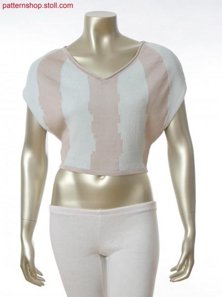 Fully Fashion 2-color intarsia top with Fair Isle technique
