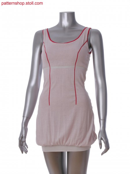 Fully Fashion dress with elasticated border in 2-color tubular jacquard
