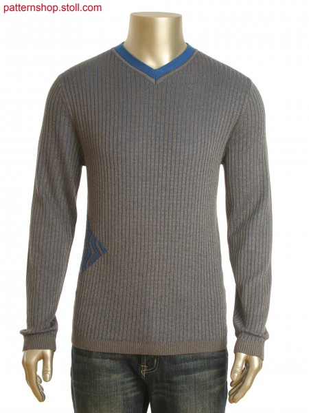 Fully Fashion V-neck pullover in 2-color half milano rib with transferring structure in zig-zag optic.