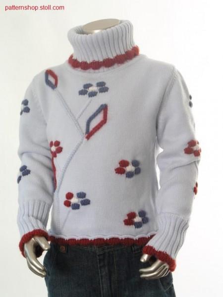 FF-jersey children's pullover with aran floral motive / FF-Rechts-Links Kinderpullover mit Aran Blumenmotiv