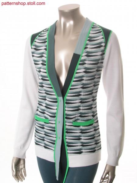 Fully Fashion-intarsia cardigan with horizontal stripes / Fully Fashion-Intarsia Strickjacke mit Ringeln
