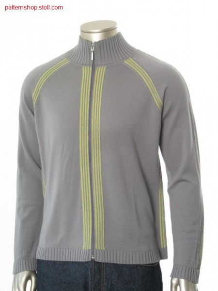 Fully Fashion-Intarsia jersey raglan cardigan / Fully Fashion-Intarsia Rechts-Links Raglanstrickjacke