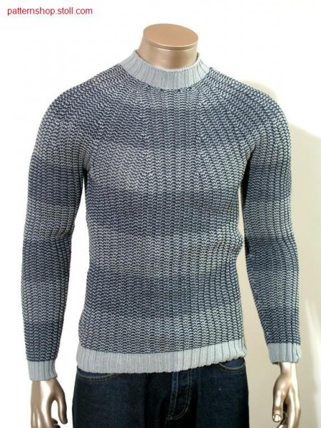 Ringed fair isle pullover in 2x2-rib with PTS / Geringelter Fair Isle Pullover in 2x2 Rippe mit PTS