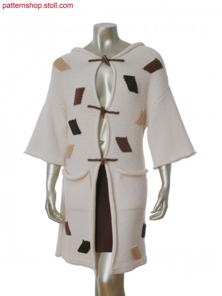 Fully Fashion long jacket with  integral hood, intarsia transfer application and patch pocket.