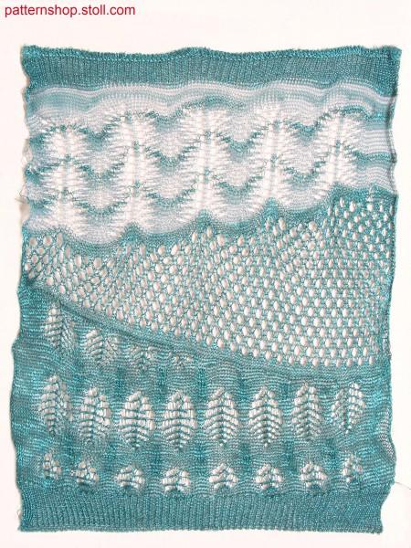 Gored swatch with stripes in pointelle structure / Gespickelter Musterausschnitt mit Petinetstruktur-Ringeln