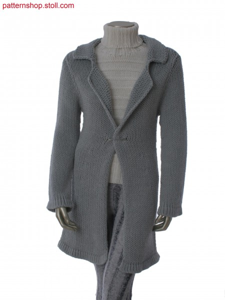 Fitted long cardigan with lapel collar / Taillierte Langjacke mit Reverskragen