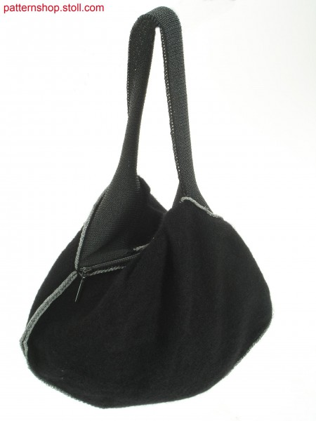 Gored hand-bag in plated jersey with inverted pleats / Gespickelte Handtasche in plattiertem Rechts-Links