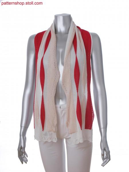 3-color intarsia scarf in layer technique and scallop edge