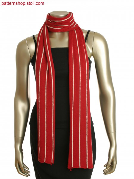 Red single jersey scarf with white vertical linking chain detail to create a pinstripe effect