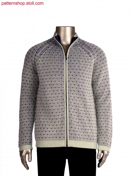 Stoll-multi gauges&reg, Fully Fashion cardigan, 3 colour half cardigan structure in 5gg optic