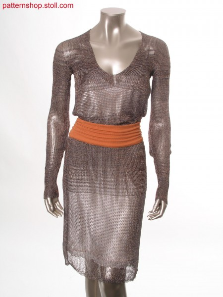 Striped dress with V-neck and back cut-out / Geringeltes Kleid mit R