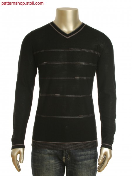 Fully Fashion V-neck pullover.Front in single jersey with stripes and holding stitch.Back in 6x6 rib.
