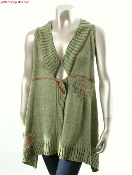 Plated jersey waistcoat, back part shaped by fair isle / Plattierte Weste in Rechts-Links mit Fair Isle R